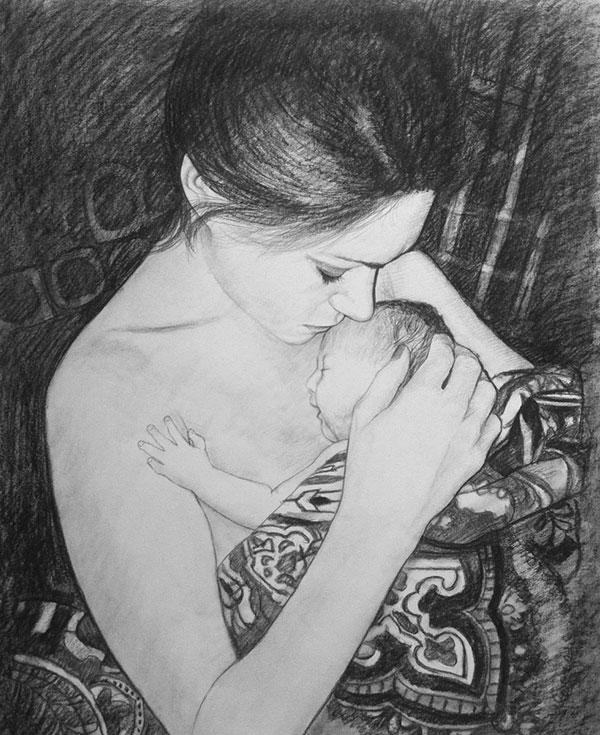 charcoal drawing mother