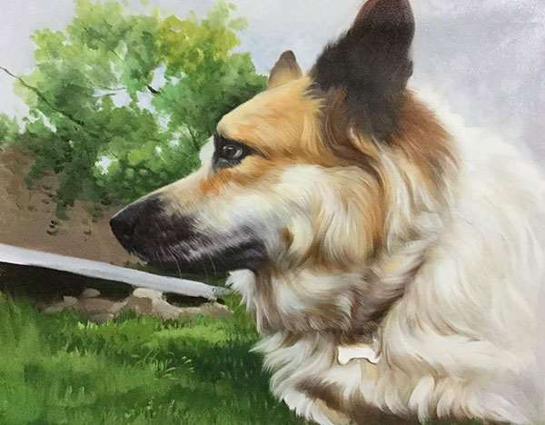 dog in nature custom art