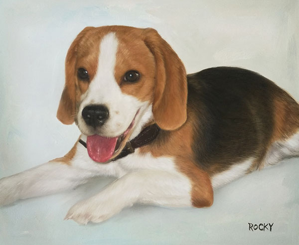 resting puppy oil painting
