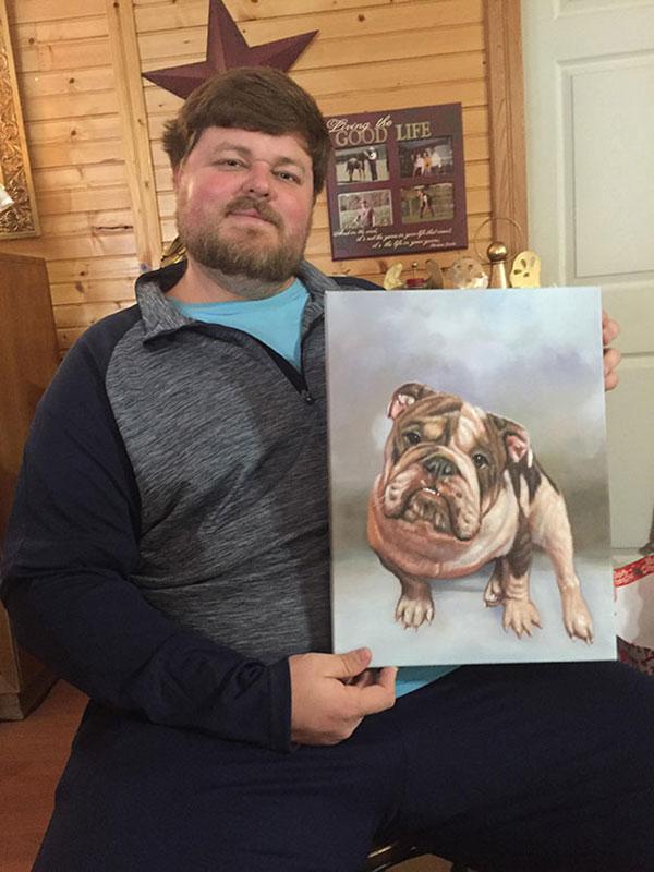 dog portrait in oil