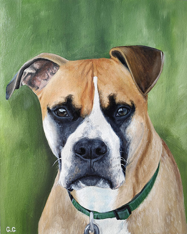 handmade portrait of boxer on green background