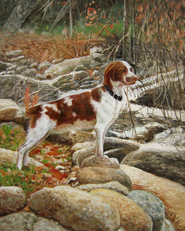 an oil painting of a dog in the woods