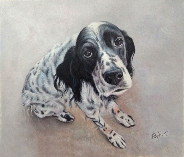 a handmade painting of a spotty white dog