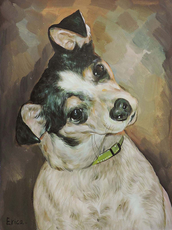 custom pet portrait in pastel
