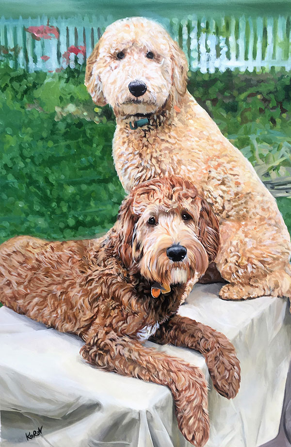 custom acrylic paintings of poodles