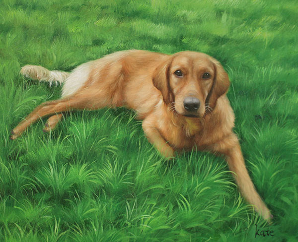custom acrylic painting of Golden Retriever