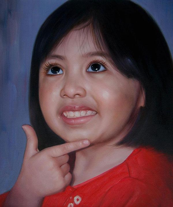 bambina olio da fotografia