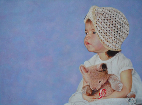 a custom oil painting of a child holding a toy bear