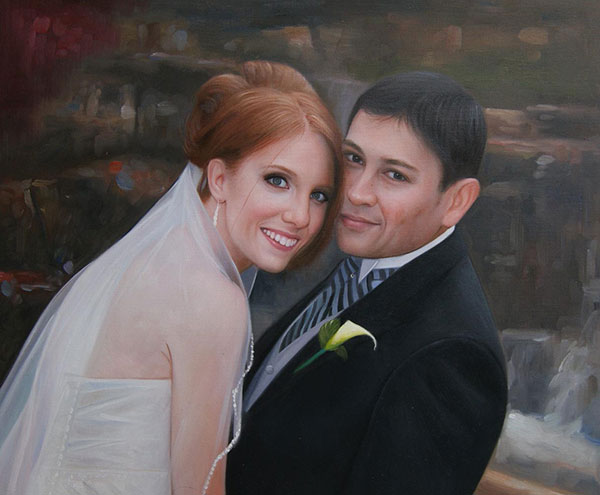 custom oil painting of wedding couple