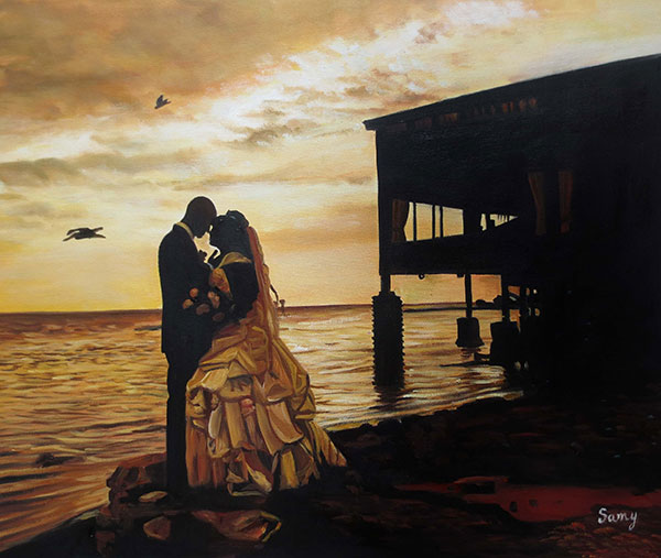 an oil painting of wedding couple silhouettes at the beach