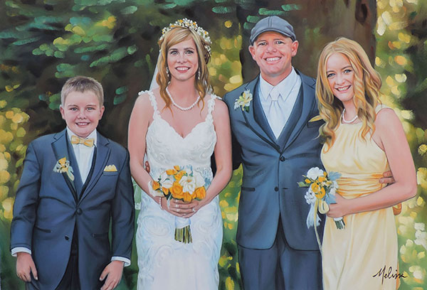 an oil painting of wedding couple in the woods