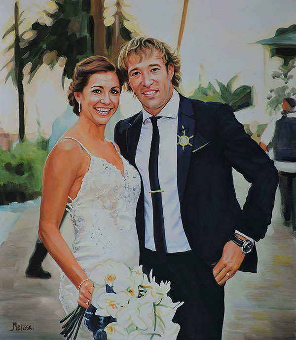 wedding photo hand painted in pastel