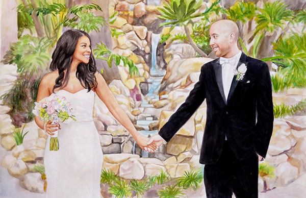 custom watercolor painting bride and groom near a waterfall