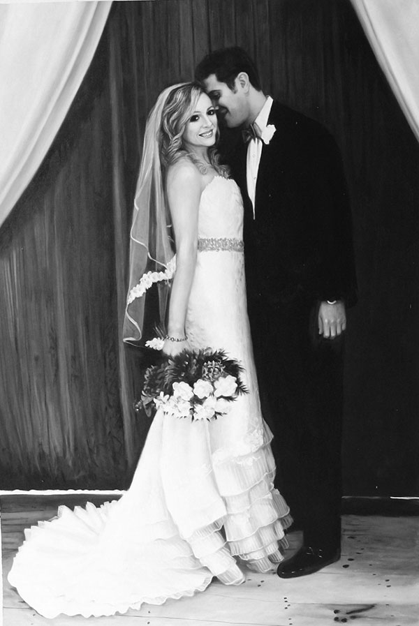 custom acrylic black and white painting of wedding day