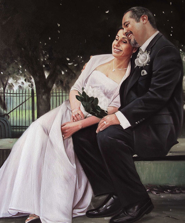 a custom oil painting of wedding couple sitting in the park