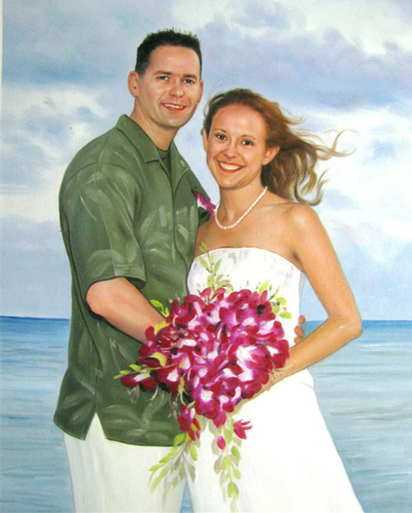 an oil painting of wedding couple by the beach