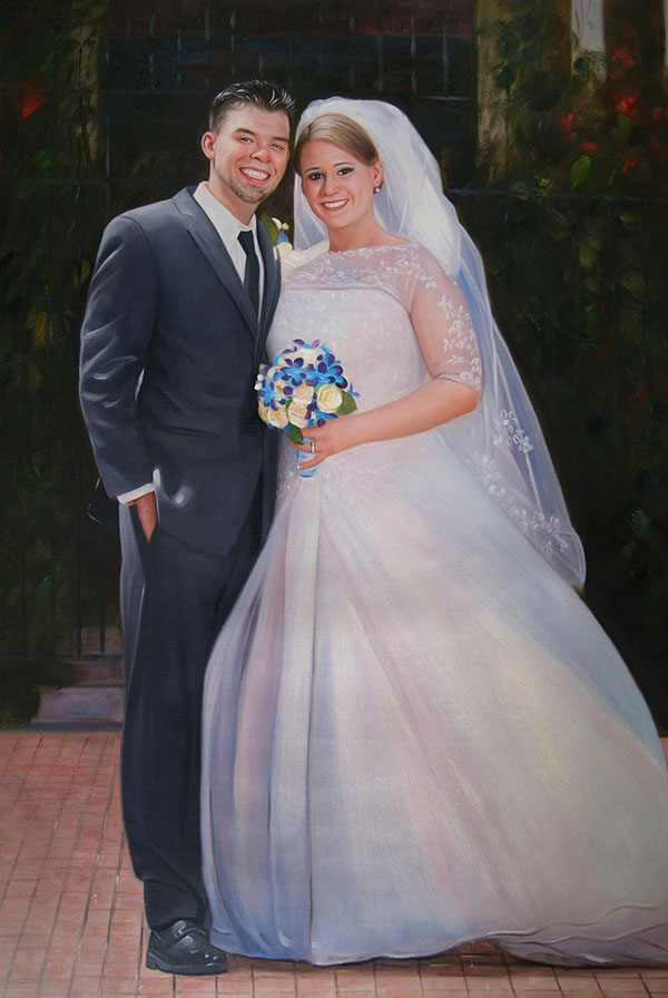 a custom oil painting of a wedding couple