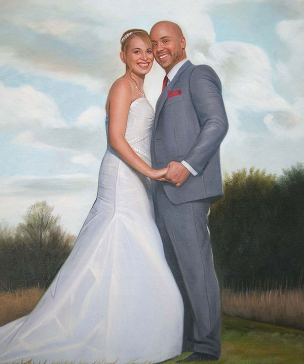 an oil painting of wedding couple holding hands outdoors
