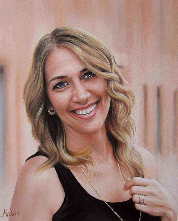 a custom oil portrait of a blonde woman smiling