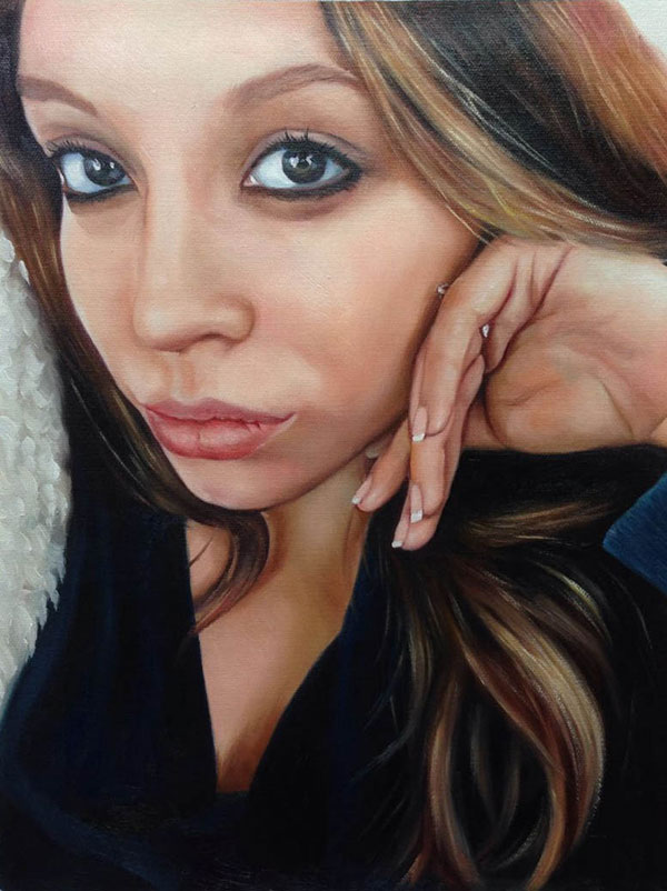 a custom oil portrait of a woman selfie