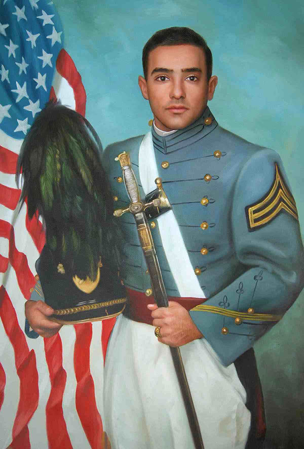 a custom oil portrait of a soldier