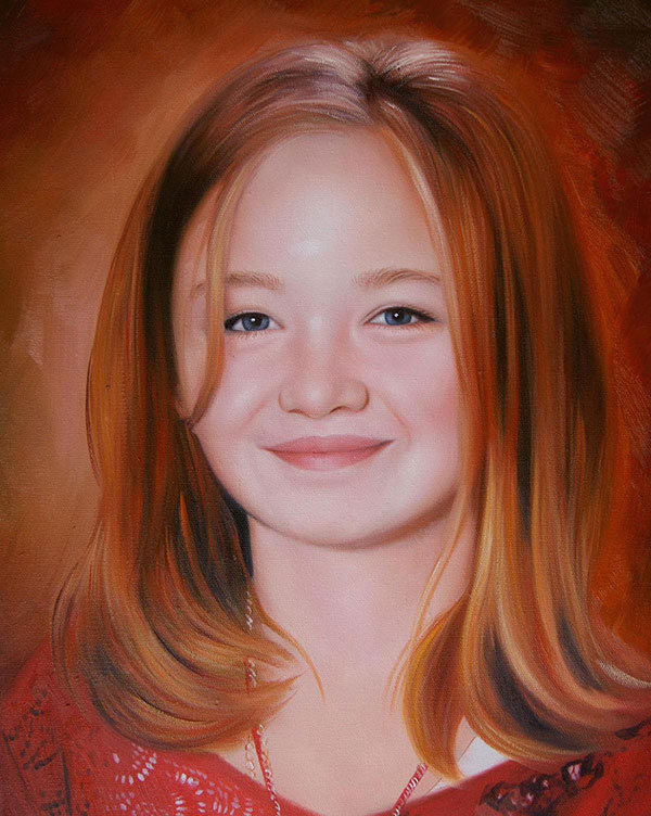 a custom oil portrait of a ginger lady
