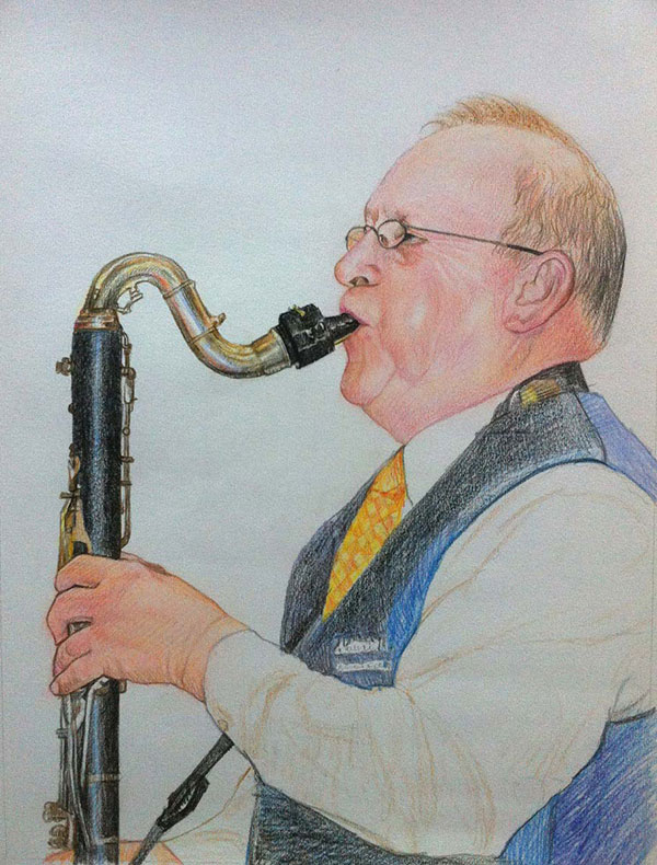 custom colored pencil portrait of man playing saxophone
