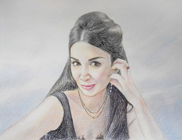 custom colored pencil portrait of woman with long black hair