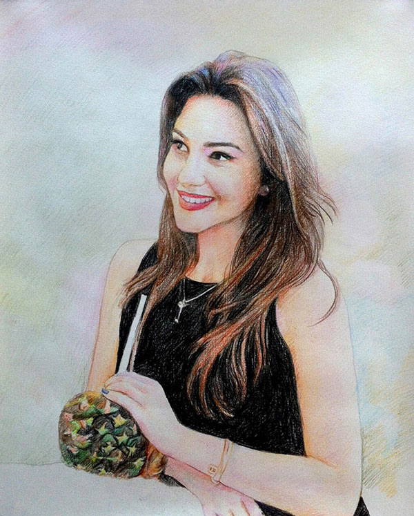 colored pencil drawing of woman drinking from pineapple