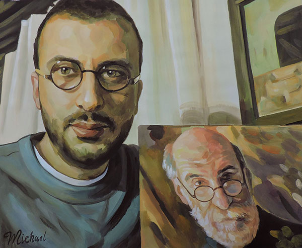 portrait painting created from a photograph in pastel