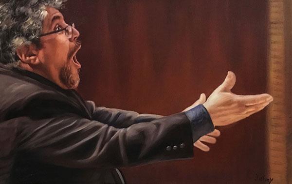a custom oil portrait of a maestro