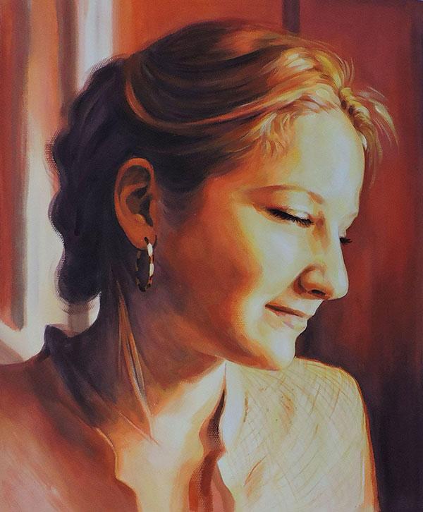 pastel portrait of a woman