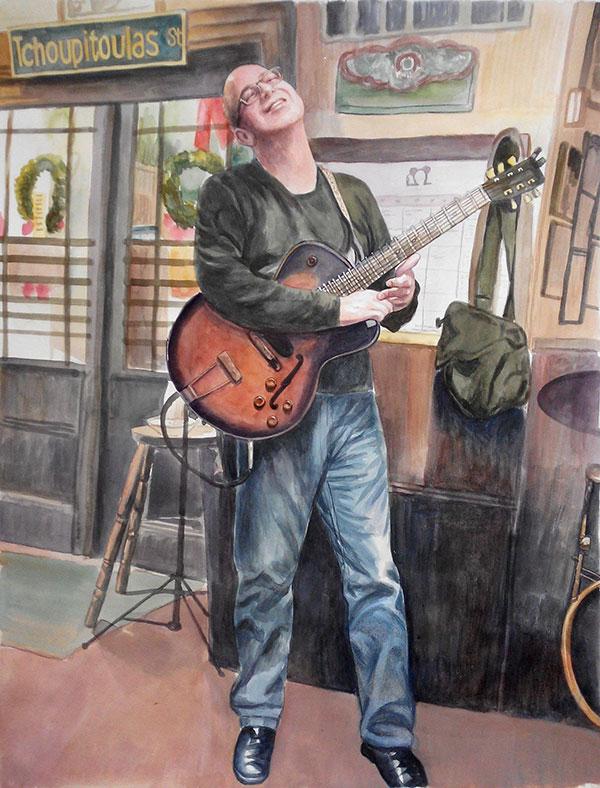 custom watercolor painting of man playing guitar