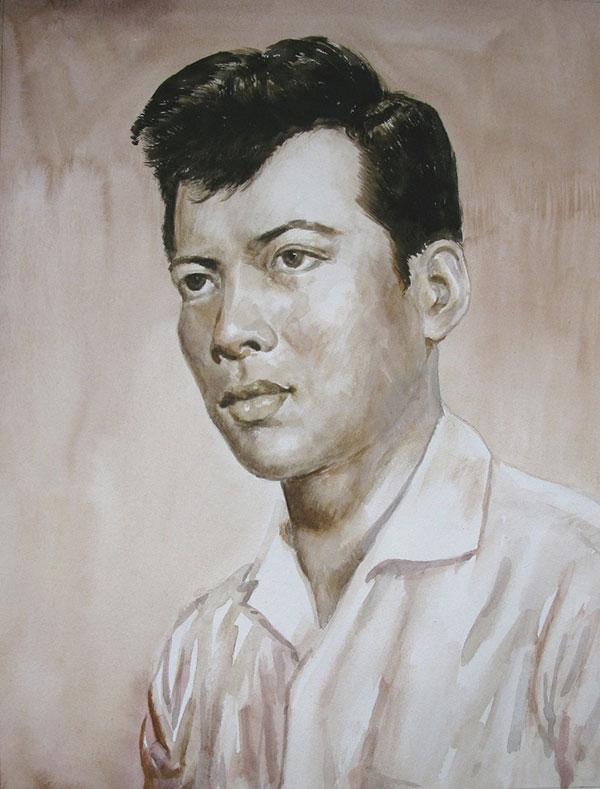custom watercolor sepia portrait of Asian man