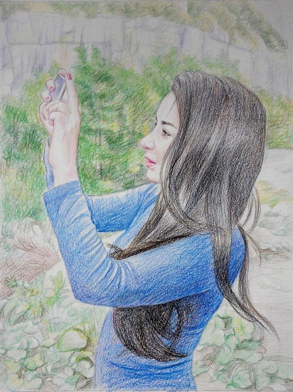 custom colored pencil drawing of a girl taking a photo