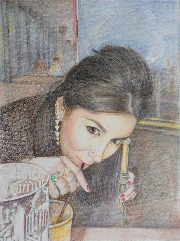 custom colored pencil drawing of woman drinking in a bar