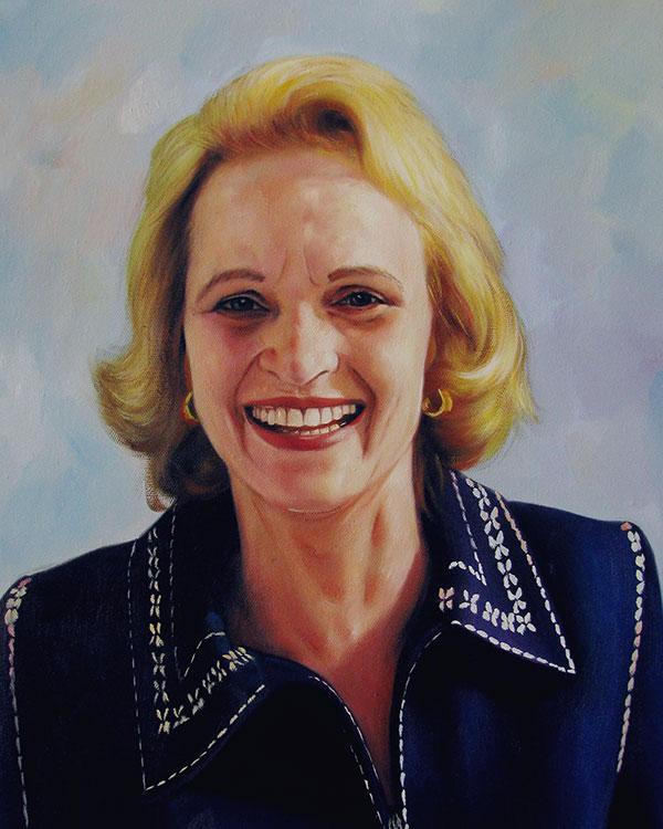 a custom oil portrait of a blonde elderly woman