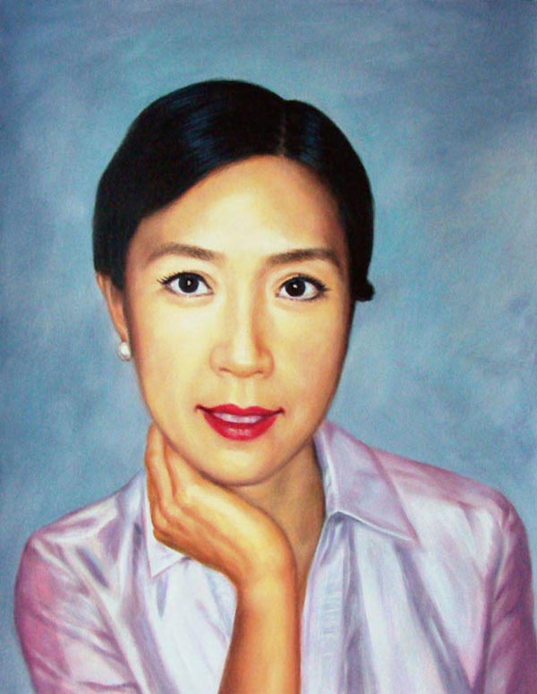 custom acrylic painting of Asian woman with red lips