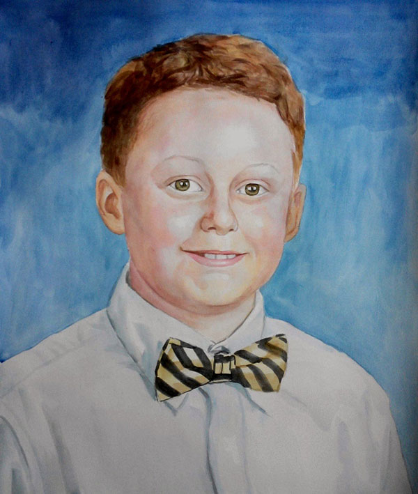 custom watercolor painting  of a little boy with a bowtie