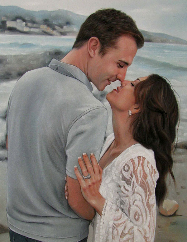 picture to oil painting of couple nose to nose by beach