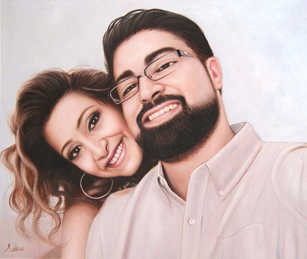 oil painting of Indian couple photo to art