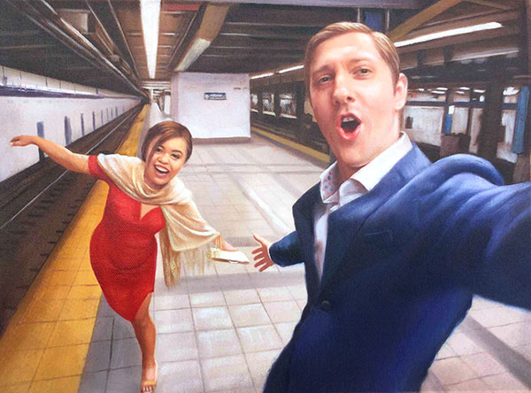 oil painting of asian woman and while man by the subway