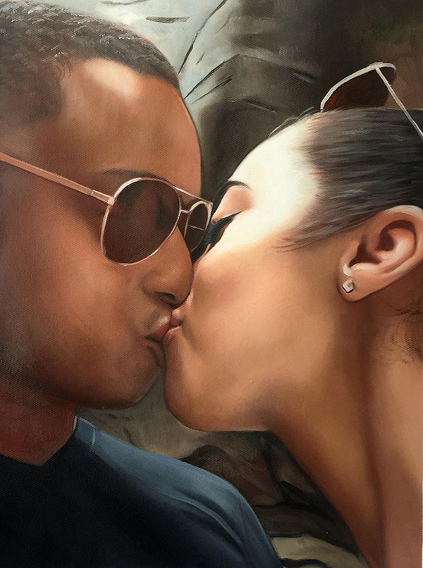 close up oil portrait of man and woman kissing