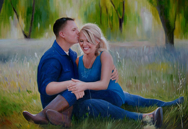 photo to custom painting couple sitting outdoor in field