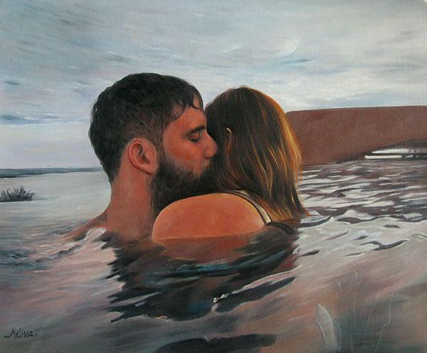 custom oil painting of couple cuddling in the ocean