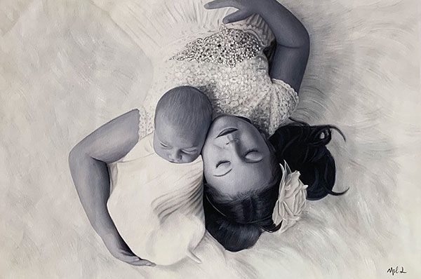 a black and white painting of two siblings