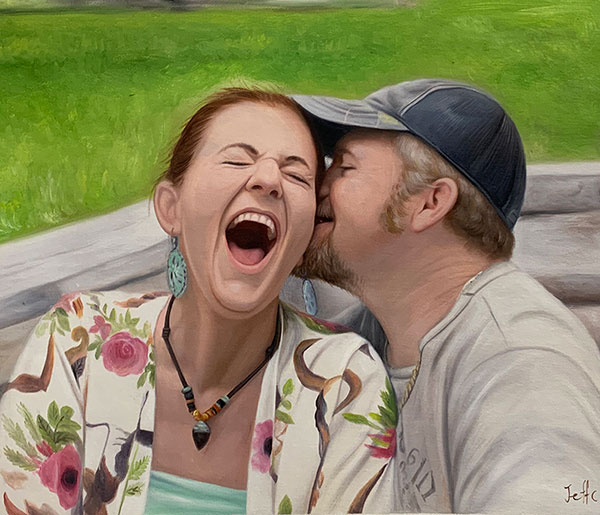 oil painting of laughing woman husband kissing cheek