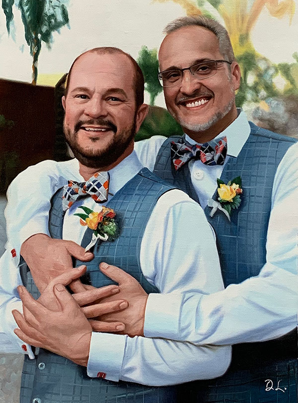 oil painting of happy gay couple on wedding day