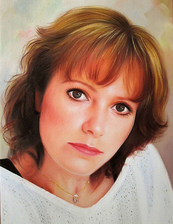 an oil painting of a woman with light brown hair
