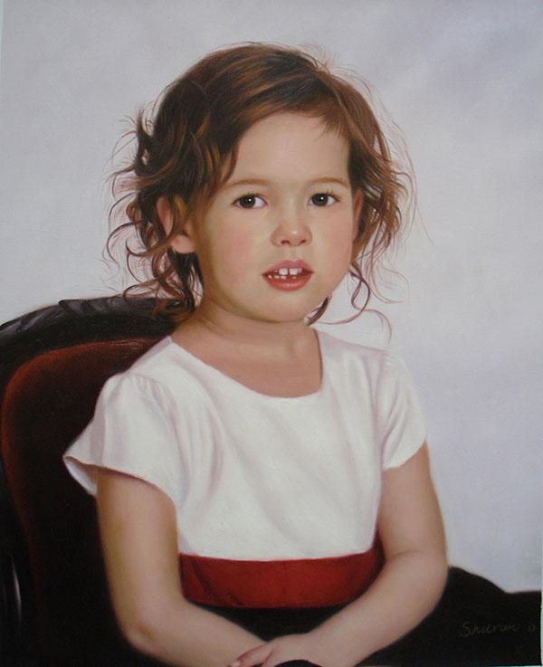 oil painting from photo of a cute little girl